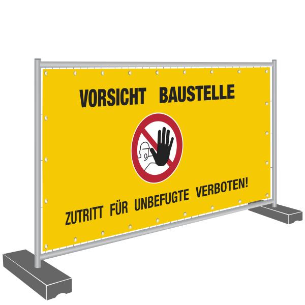 Bauzaunbanner 340x173cm - Vorsicht Baustelle