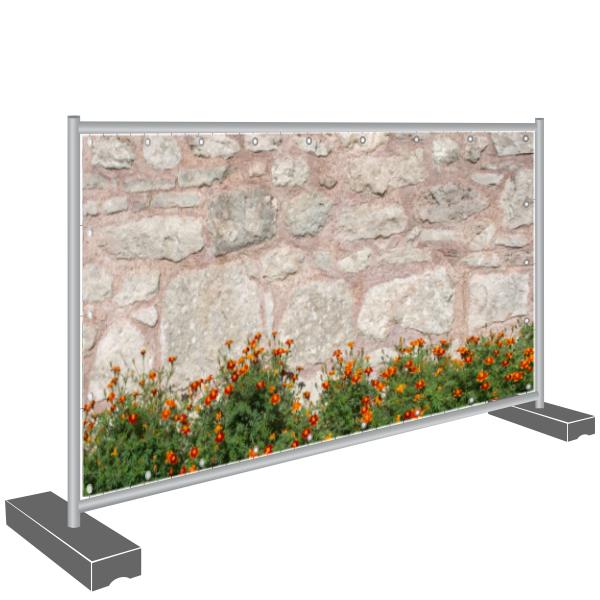 Sichtschutz Banner Steinmauer und Blumen