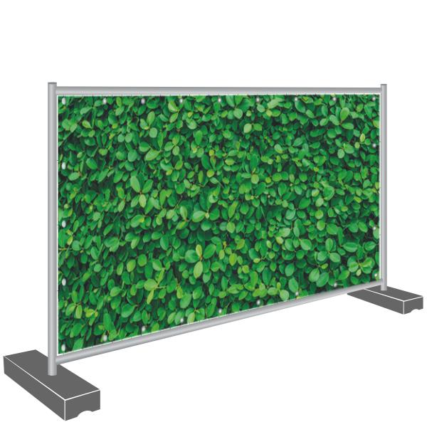 Bauzaun Banner Sichtschutz Kirschlorbeer grün