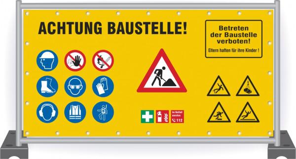 Baustellenbanner-Sicherheit-Achtung-Baustelle-Zeichen