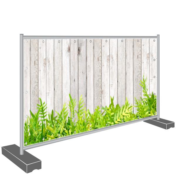 Sichtschutz Banner, Holz und Blumen