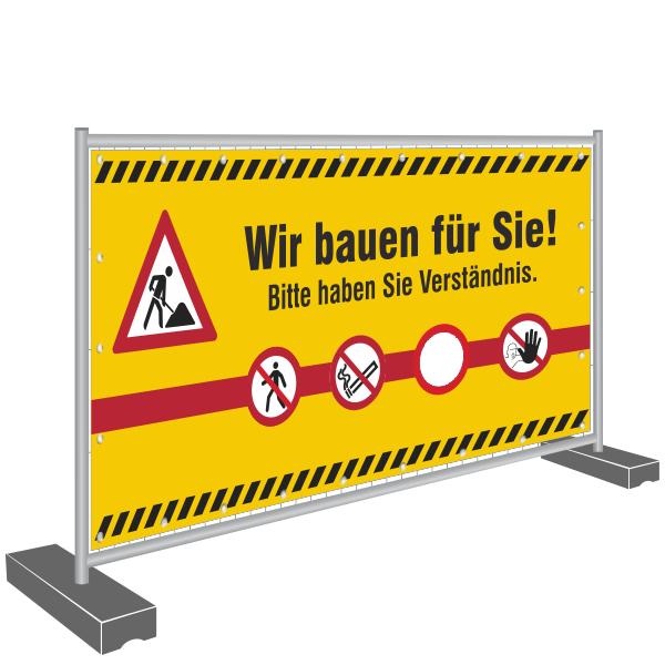 Bauzaunbanner 340x173cm - Wir bauen für Sie