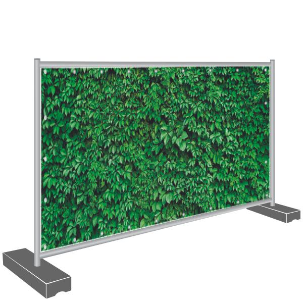 Bauzaunbanner Sichtschutz Hecke grün