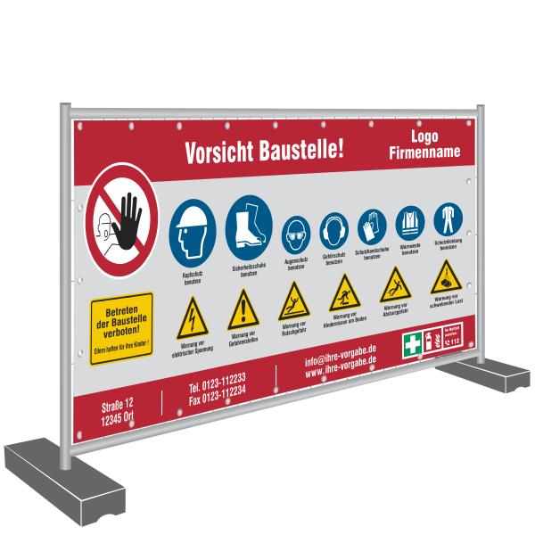 Sicherheit auf der Baustelle. Sicherheitszeichen Banner für eine Bauzaun.