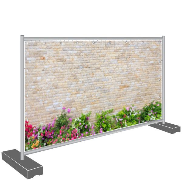 Sichtschutzbanner, Mauer und Blumen
