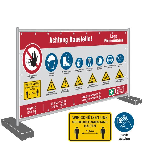 Bauzaunbanner 340x173cm - Sicherheit, Abstand halten